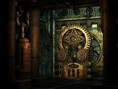 foto of steampunk  - a gear train at a factory in Steampunk style - JPG