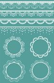 stock photo of doilies  - Collection of lace ribbons and frames. Vector illustration. Each design element is on a separate layer. 