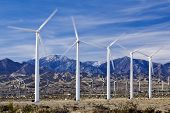 stock photo of wind-turbine  - Wind turbines generate power near Palm Springs California - JPG