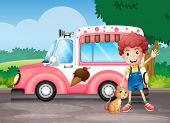 pic of ice-cream truck  - Illustration of a boy and his cat near a pink bus - JPG