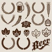 stock photo of malt  - Beer Ingredients Ornamental Designs - JPG