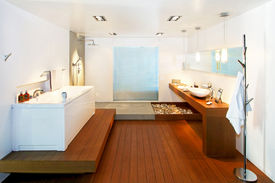 foto of ceramic tile  - Big bathroom with wooden floor in natural style - JPG