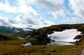 image of plateau  - Highland plateau with glacier and water in Sogn og Fjordane County in Norway - JPG