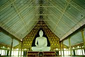 stock photo of budha  - budha in temple big white model in temple - JPG