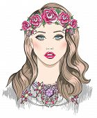 Young Girl Fashion Illustration. Girl With Flowers In Her Hair And Statement Necklace
