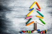stock photo of sticks  - Christmas Tree Christmas tree made of pencil - JPG