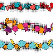 picture of kawaii  - Seamless kawaii child patterns with cute doodles - JPG