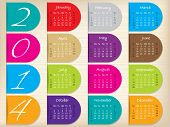 pic of calendar 2014  - Color ribbon calendar design for the year 2014 - JPG