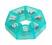 pic of heptagon  - Heptagonal dispenser for a week of pills isolated against a white background - JPG
