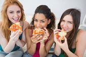 Portrait of happy young female friends eating pizza on sofa at home