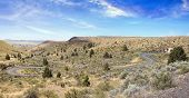 picture of long winding road  - Long Winding Road in Central Oregon High Desert Panorama