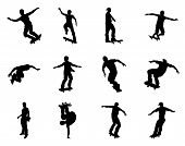 stock photo of skate board  - Very high quality and highly detailed skating skateboarder silhouette outlines - JPG