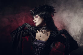 stock photo of gothic girl  - Romantic gothic girl in Victorian style clothes - JPG