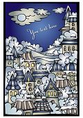 Vector cartoon winter fairytale town greeting card
