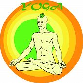 pic of kundalini  - Hand drawn illustration about the handsome yogi playing asanas positions - JPG