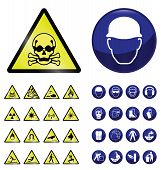 picture of personal safety  - Construction mandatory health and safety and hazard warning sign collection isolated on white background - JPG