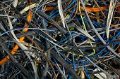 stock photo of discard  - Pile of discarded cables - JPG
