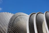 stock photo of hydroelectric power  - Steam turbine of nuclear power plant against sky - JPG