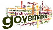 picture of financial audit  - Governance and compliance in word tag cloud on white - JPG