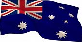 Digitally generated australia national flag on white background