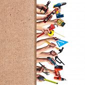 Hands with DIY tools. Construction renovation collage background.