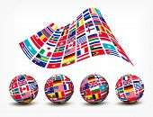 stock photo of longitude  - Flags of the world countries - JPG