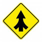picture of merge  - Traffic sign Lanes Merging isolated on white background - JPG