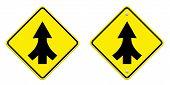 stock photo of merge  - Traffic sign Lanes Merging isolated on white background - JPG