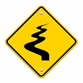 image of veer  - Winding Road Ahead isolate on white background - JPG