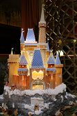 RUSSIA, MOSCOW - DEC 11, 2013L: Layout beautiful fairytale castle with gnomes in Lotte Hotel.