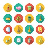 foto of sanitation  - Cleaning dusting and sanitation icons set of can bucket spray plunger isolated vector illustration - JPG