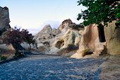 stock photo of goreme  - Ancient Christian churches cut in rock Goreme region  - JPG