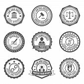 picture of jury  - Legal services rights protect advocacy service labels set isolated vector illustration - JPG