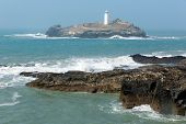 foto of st ives  - Godrevy lighthouse and island St Ives Bay Cornwall coast England UK facing the Atlantic Ocean and popular with surfers - JPG