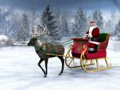 stock photo of santa sleigh  - A reindeer pulling a sleigh with Santa Claus in it - JPG