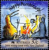 AUSTRALIA - CIRCA 1988: Stamp printed in Australia showing Happy Bicentenary with funny  Caricature