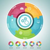 image of four  - Vector illustration of circle puzzle infographic elements set - JPG