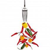 fork with colorful pepper paprika vegetables isolated on a white background