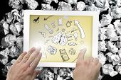 Composite image of hand touching tablet showing idea brainstorm