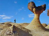 stock photo of low-necked  - The photographer walks on the mushroom rock - JPG