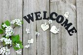 stock photo of wood craft  - Welcome sign with spring tree blossoms and wood hearts on wooden fence - JPG
