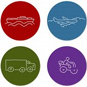 An image of travel transportation icons.