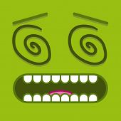 stock photo of dizziness  - A Vector Cute Cartoon Green Dizzy Face - JPG
