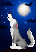 stock photo of wolf moon  - Vector illustration of Wolf cartoon howling isolated on white background - JPG