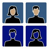 image of faceless  - Faceless male and female avatar icons - JPG