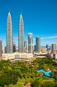 picture of petronas twin towers  - Petronas towers in Kuala Lumpur and gardens - JPG