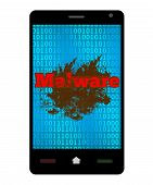 picture of malware  - Malware concept image with dirty messy blot with malware text on a smartphone - JPG