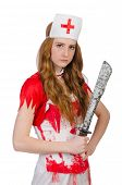 stock photo of witch-doctor  - Woman doctore with big dagger on white - JPG