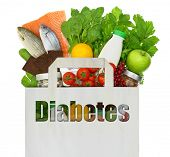 stock photo of diabetes  - Paper bag with the word diabetes filled with healthy foods - JPG