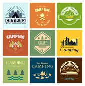 stock photo of boy scout  - Set of mountain adventure and expedition logo badges - JPG